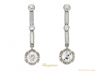 Art Deco diamond drop earrings berganza hatton garden