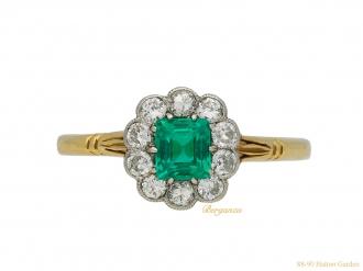 Edwardian emerald  diamond cluster ring berganza hatton garden