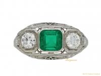 Emerald and diamond three stone ring berganza hatton garden