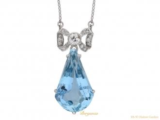 Art Deco aquamarine diamond drop pendant berganza hatton garden