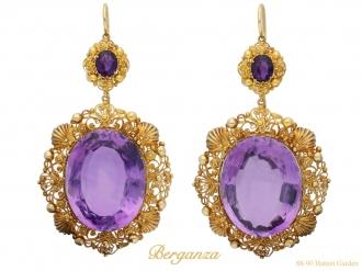 Amethyst and gold cannetille earrings berganza hatton garden