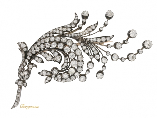 front view Antique diamond spray brooch, Germany, circa 1880 berganza hatton garden