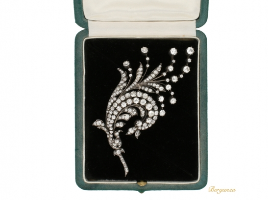 boxed view Antique diamond spray brooch, Germany, circa 1880 berganza hatton garden
