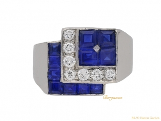 front view tiffany diamond sapphire ring hatton garden berganza
