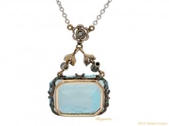 front antique diamond aquamarine pendant hatton garden berganza