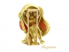 side view Mauboussin Paris dog brooch set with lapis, coral and onyx