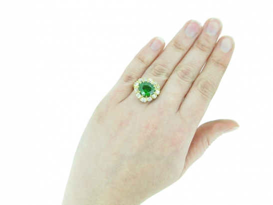 hand veiw demantoid diamond cluster ring hatton garden berganza