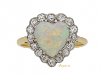 front view Heart shape opal and diamond coronet cluster ring, circa 1910. berganza hatton garden