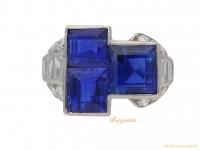 front view art deco blue sapphire diamond ring hatton garden berganza