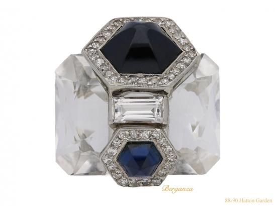 front Seaman Schepps rock crystal diamond sapphire berganza hatton garden