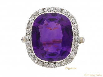 front view antique amethyst diamond ring berganza hatton garden