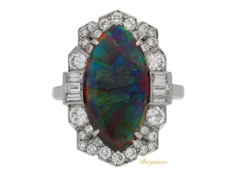 front view Art Deco black opal diamond ring berganza hatton garden