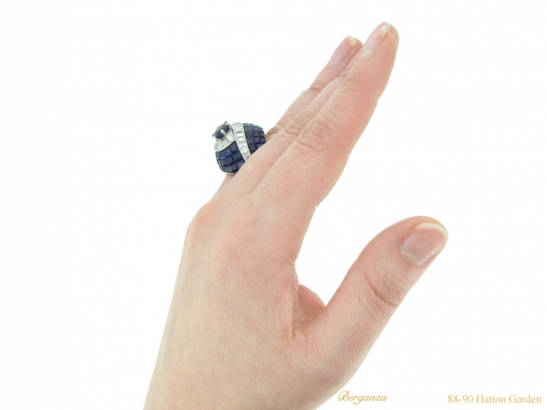 hand vintage sapphire diamond ring berganza hatton garden