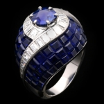 Vintage invisibly set sapphire and diamond ring, circa 1950.