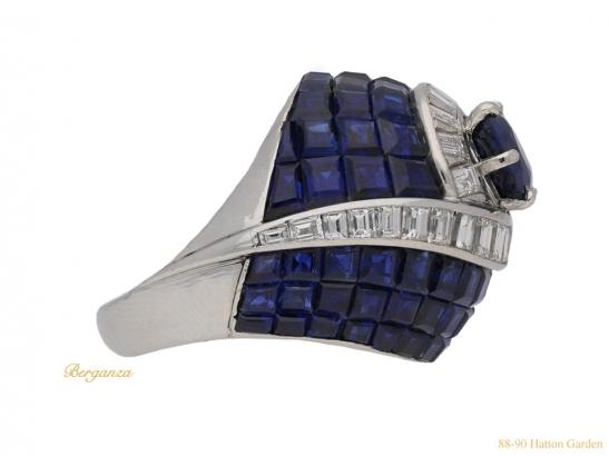 side vintage sapphire diamond ring berganza hatton garden