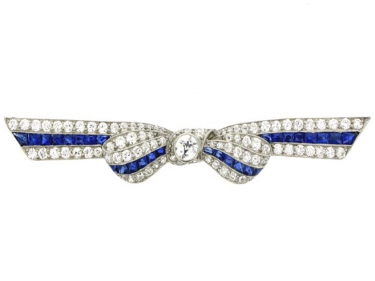 front view Marcus & Co. sapphire and diamond bow brooch,
