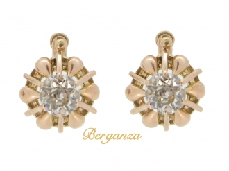 front view Cushion shape old cut diamond earrings, French, circa 1910.