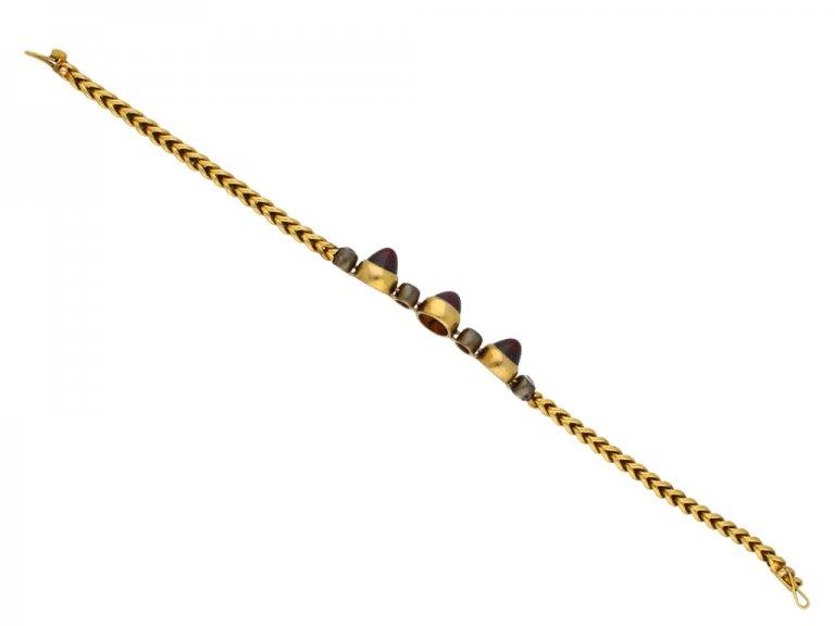 Antique garnet and diamond bracelet berganza hatton garden