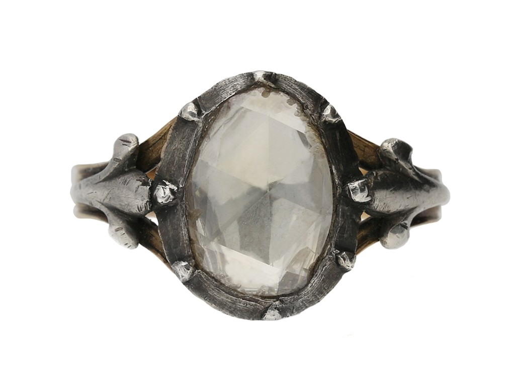 front view georigan rose cut diamond ring berganza hatton garden