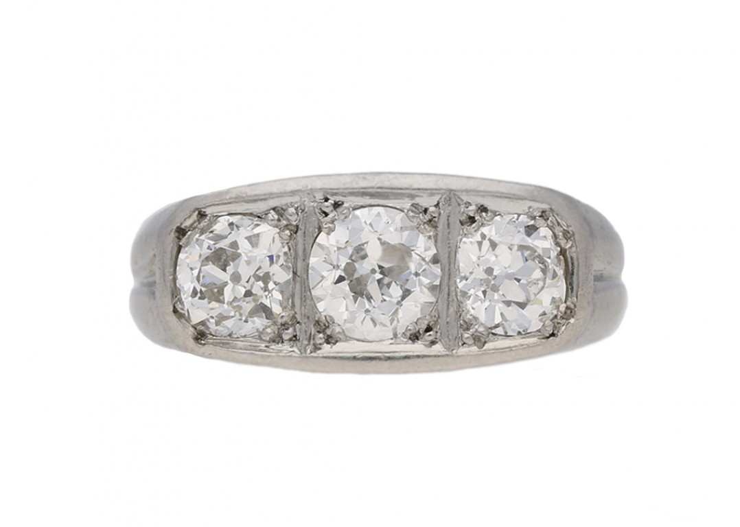 front view antique diamond three stone ring hatton garden