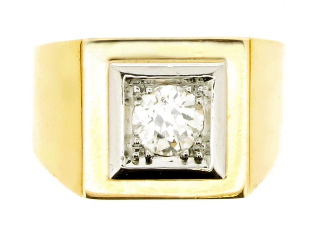 front view Solitaire old cut diamond ring,