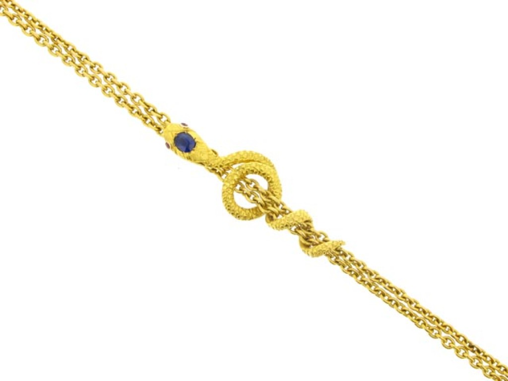 front view Antique gold long guard chain with snake slide, French, circa 1895.
