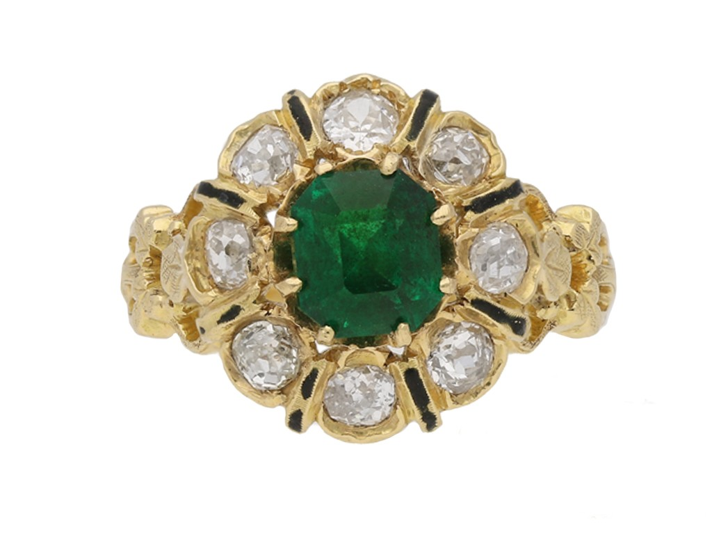 front enamel emerald diamond ring berganza hatton garden