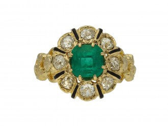 Emerald, diamond and enamel ring berganza hatton garden