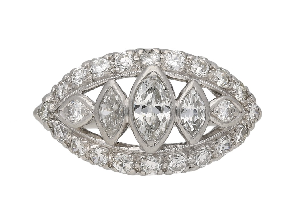 Vintage diamond cluster ring, American berganza hatton garden