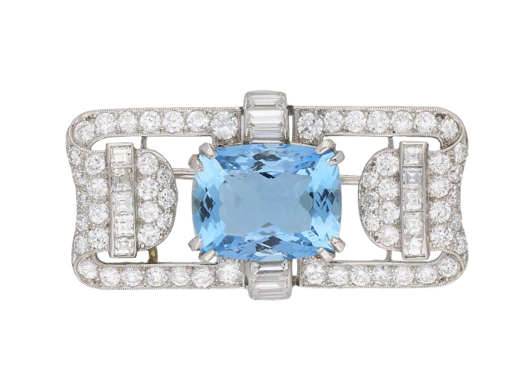 Aquamarine and diamond brooch berganza hatton garden