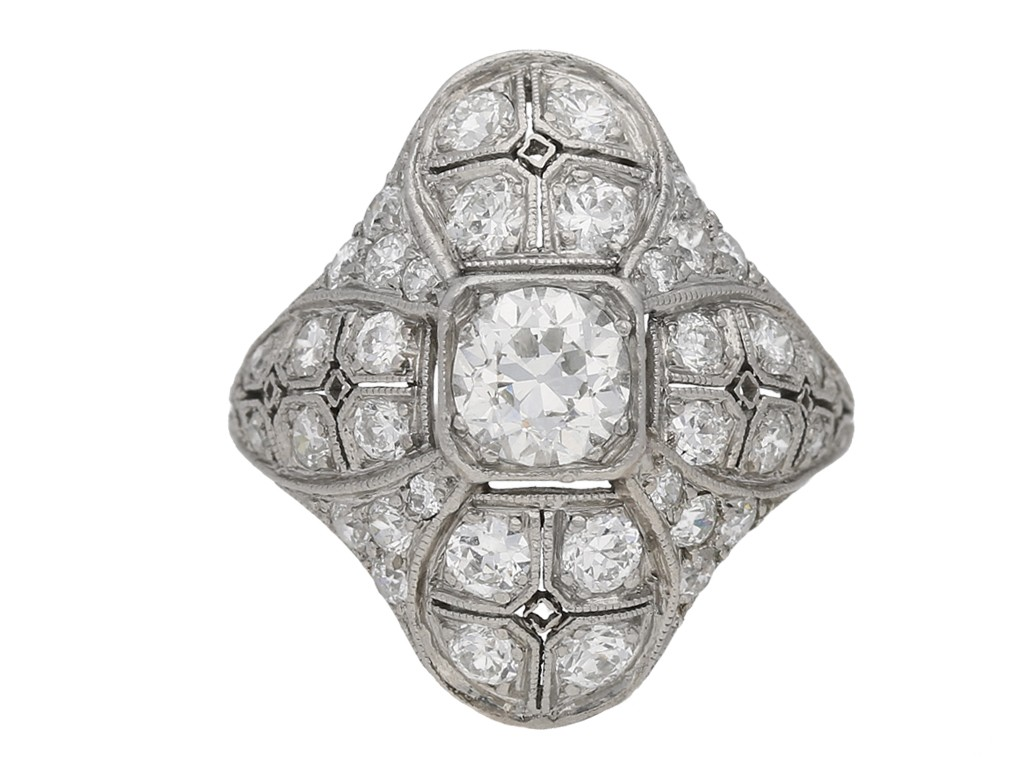 front view Art Deco diamond cluster ring berganza hatton garden