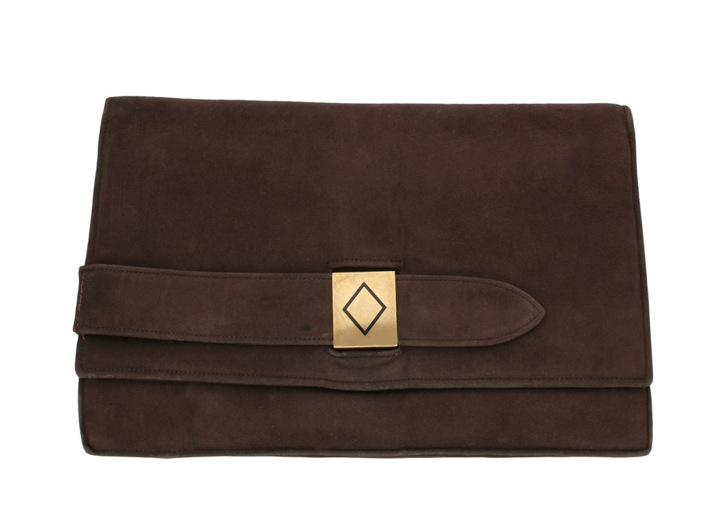Cartier vintage brown suede clutch bag berganza hatton garden