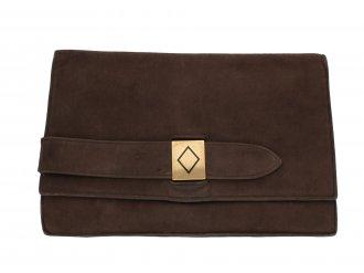 Cartier vintage brown suede clutch bag berganza hatton garden