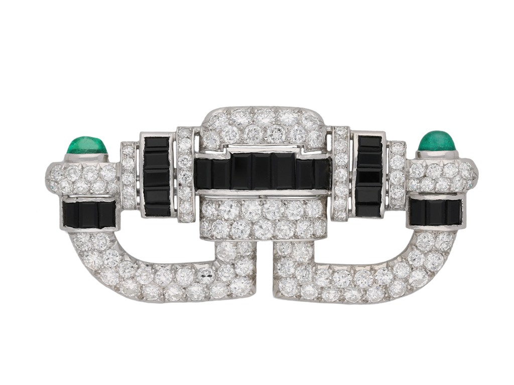 Art Deco onyx, diamond emerald brooch berganza hatton garden