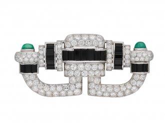 Art Deco onyx, diamond emerald brooch berganza hatton garden