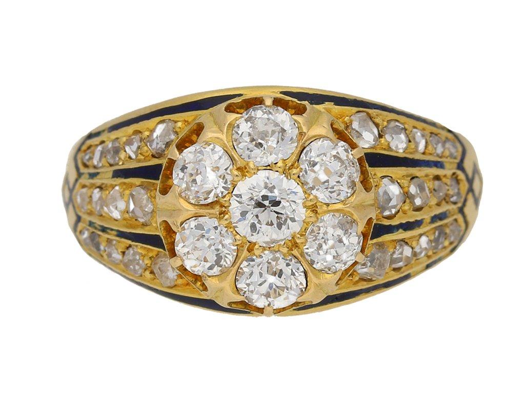 front view diamond enamel cluster ring. berganza hatton garden