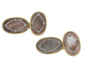 diamond mother of pearl cufflinks berganza hatton garden