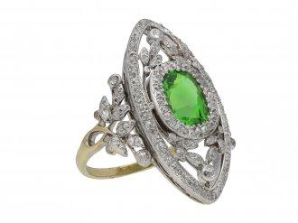 Demantoid garnet diamond dress ring berganza hatton garden