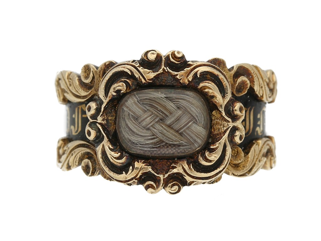 front view Antique mourning ring gold berganza hatton garden