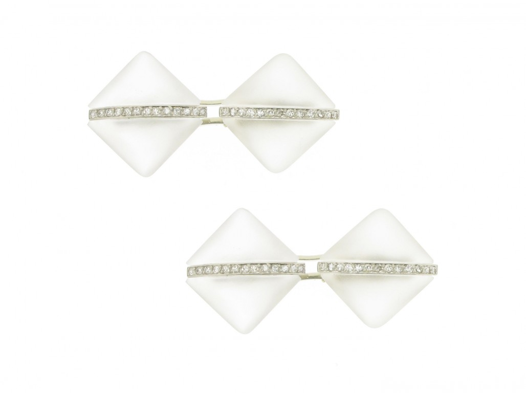 Art Deco rock crystal and diamond cufflinks, circa 1925.