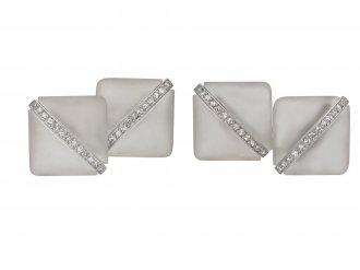 Art Deco rock crystal diamond cufflinks berganza hatton garden