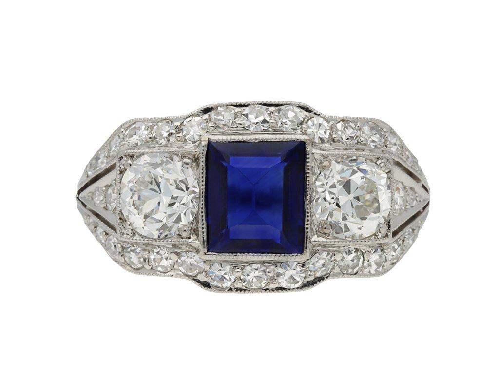 Art Deco sapphire and diamond ring hatton garden