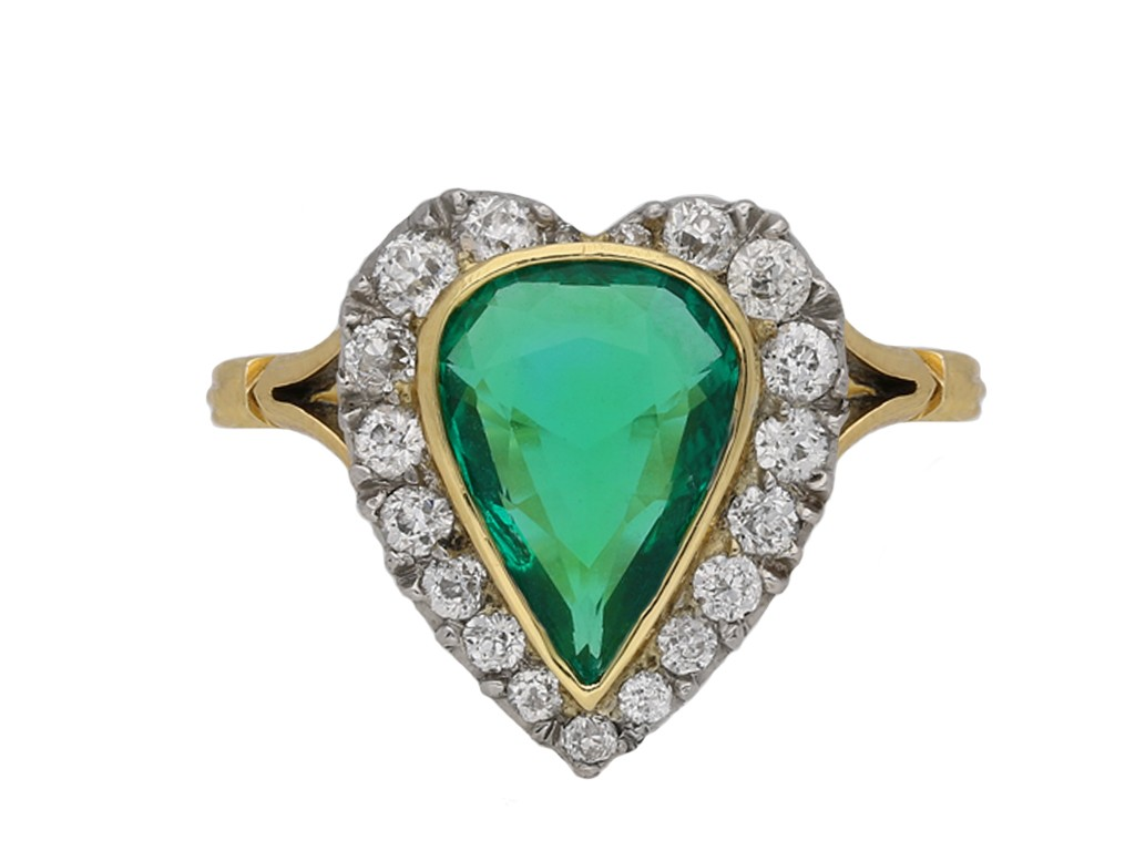 Antique emerald and diamond cluster ring berganza hatton garden