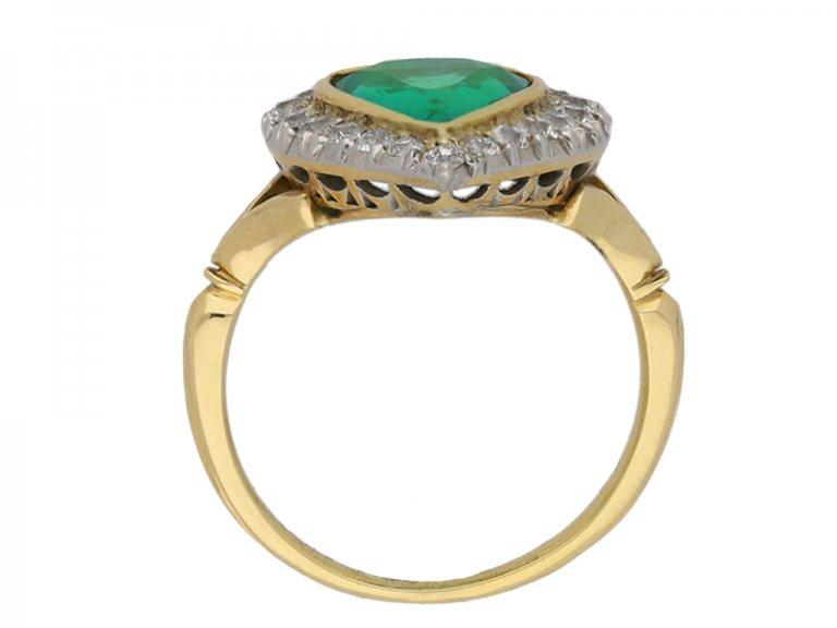 Antique emerald and diamond cluster ring berganza hatton garden