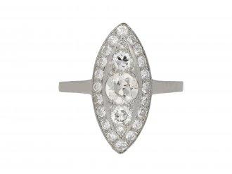 Antique marquise shape diamond ring berganza hatton garden