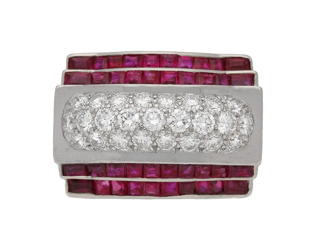 front view tiffany diamond ruby ring hatton garden berganza