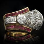 Diamond and ruby cocktail ring, circa 1940.