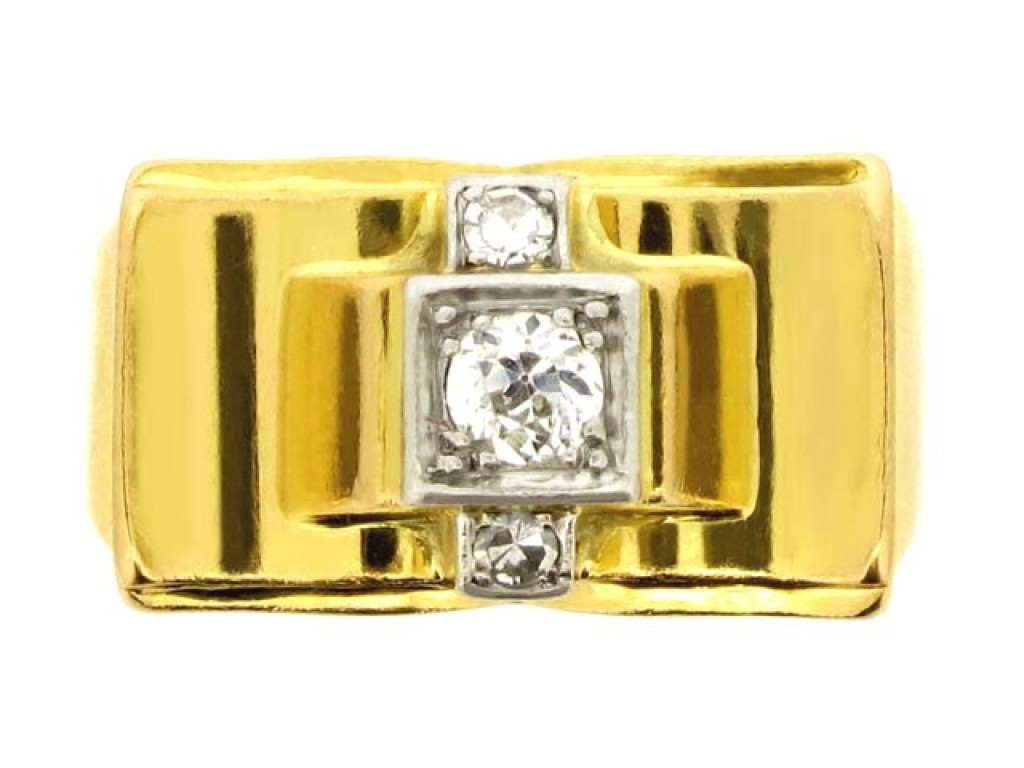 front view Diamond cocktail ring, French, circa 1940.