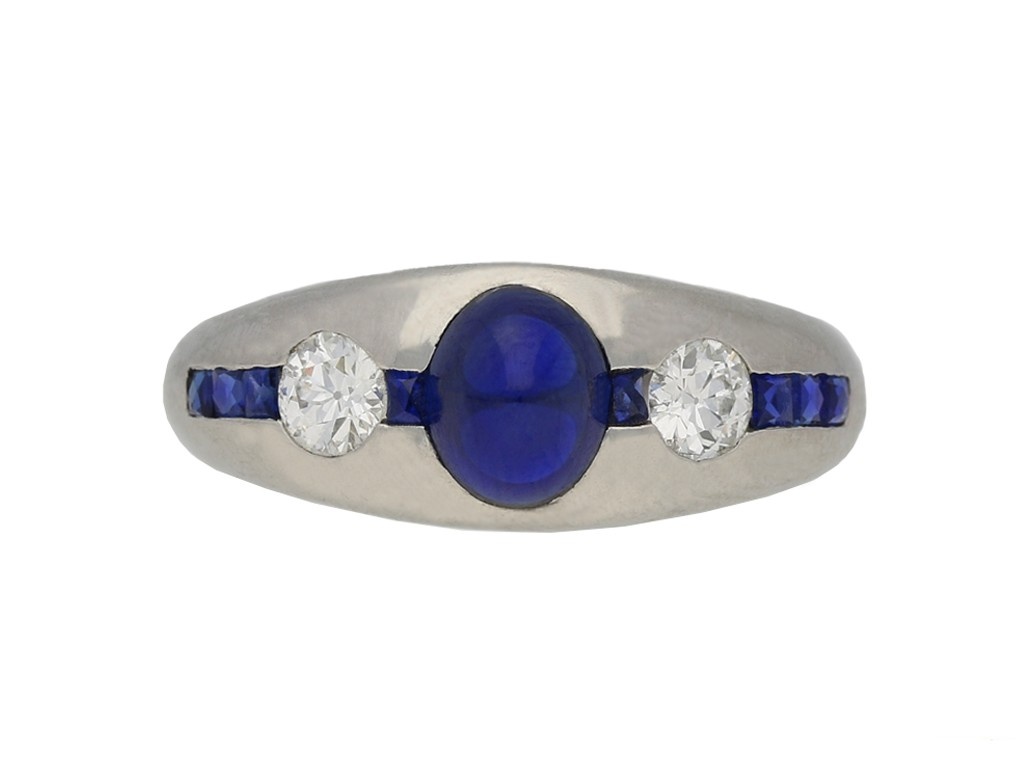 Cabochon and calibré sapphire diamond ring berganza hatton garden