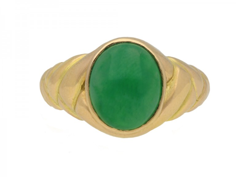Antique solitaire jade locket ring berganza hatton garden